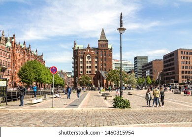 Hamburg, Germany, May 11, 2019: The Warehouse District in Hamburg, Germany. The largest warehouse district in the world is located in the port of Hamburg within the HafenCity quarter.