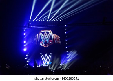 Hamburg, Germany - May 16th 2019: The Main Event for the WWE Championship between Kofi Kingston and Kevin Owens