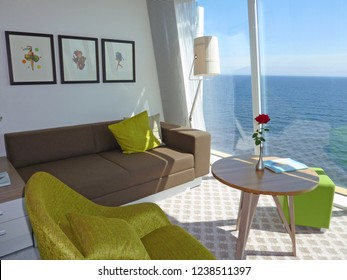 HAMBURG, GERMANY - May 19, 2015: Luxury interior of a suite from TUI Cruises Mein Schiff 4, view into the living room