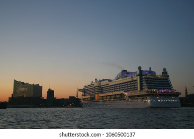 Hamburg, Germany, May 2017, cruise ship AIDA PRIMA leaving home port Hamburg harbour on Elbe river