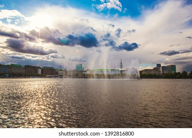 HAMBURG, GERMANY - May 2019: View of Alster Lake in Hamburg in the central historical district Roterbaum of Hamburg, Germany. Sunny day in Hamburg.