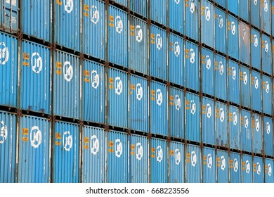 HAMBURG, GERMANY - MAY 21, 2017: Shipping containers of the South Korean container transport company HANJIN that was declared bankrupt by South Korean courts on February 17, 2017