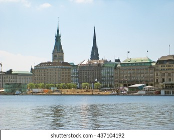 Hamburg, Germany - May 22, 2008: View over lake Binnenalster towards Jungfernstieg street with Alsterhaus and Townhall