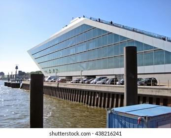 Hamburg, Germany - May 22, 2008: Nordakademie Graduate School a private university. Futuristic building / architecture at river Elbe.