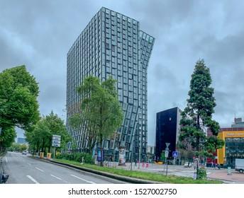 HAMBURG, GERMANY - May 22  2019: The Dancing Towers in Hamburg. Two high rises at the eastern end of Reeperbahn, in St. Pauli, Hamburg, Germany