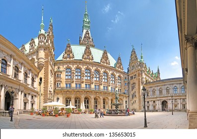 HAMBURG, GERMANY - MAY 22: The patio of the townhall of Hamburg on March 22, 2008. The building was built in 19th century and is the seat of Hamburg government and the First Mayor.