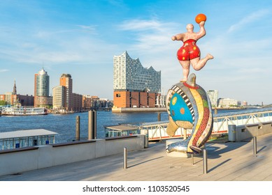 HAMBURG, GERMANY - MAY 23, 2018. The Elbe Philharmonic Hall, Elbphilharmonie, as main attraction in the harbor of Hamburg. The new cultural icon of the city