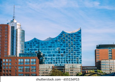 HAMBURG, GERMANY - May 28, 2017: The Elbphilharmonie, concert hall in the port of Hamburg. The tallest inhabited building of Hamburg, with a height of 110 metres