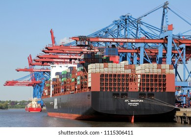 HAMBURG, GERMANY - MAY 4, 2018: The Container ship APL SINGAPURA  at the maritime container port Terminal Burchardkai