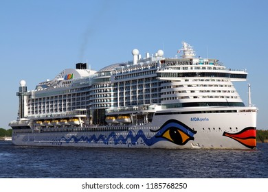 HAMBURG, GERMANY - MAY 5, 2018: Cruise ship AIDAperla - the newest and most modern cruise ship of AIDA Cruises leaving the Port of Hamburg