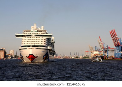 HAMBURG, GERMANY - MAY 5, 2018: Cruise ship AIDAperla - the newest and most modern cruise ship of AIDA Cruises leaving the Port of Hamburg