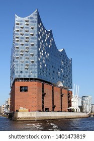 HAMBURG, GERMANY - MAY 5, 2018: Elbe Philharmonic Hall (Elbphilharmonie) seen from East with part of HafenCity quarter