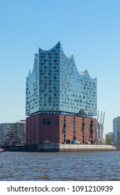 Hamburg, Germany - May 8, 2018: The Elbphilharmonie or Elbe Philharmonic Hall at Hamburg, view from the West.