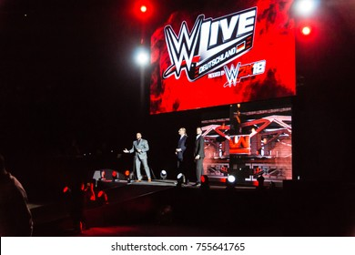 Hamburg, Germany - November 10, 2017: The Barclaycard Arena bevor the WWE Raw Show during WWE Live Tour 2017 starts