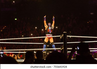 Hamburg, Germany - November 10, 2017: The Match for the Raw Cruiserweight Title between Enzo Amore vs. Kalisto during WWE Live Tour 2017