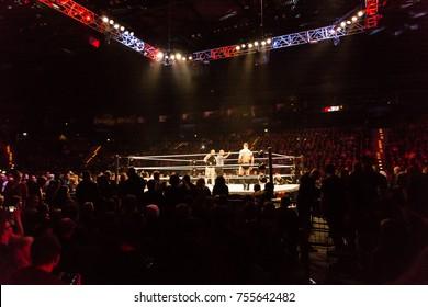 Hamburg, Germany - November 10, 2017: The Match of Finn Bálor vs Bray Whatt during WWE Live Tour 2017