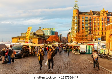 Hamburg, Germany - November 11, 2018: Altona Fish Market with unidentified people. The fish market is today one of the main tourist attractions in Hamburg