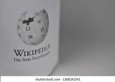 Hamburg / Germany - November 11, 2018: Close up of Wikipedia logo - Wikipedia is a free encyclopedia created and edited by volunteers around the world