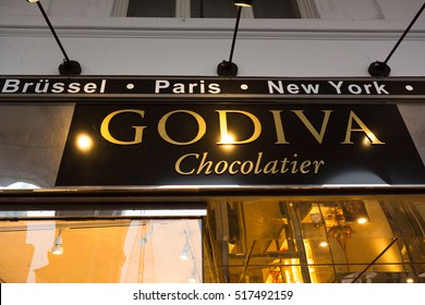 Hamburg, Germany - November 15, 2016: Godiva store. Godiva Chocolatier is a famous Brussels based praline and chocolate store chain. It is famous worldwide for its premium quality chocolate products