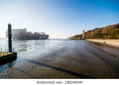 Hamburg, Germany -November 17, 2018: Hamburg wittenbergen elbe beach with the lighthouse is located on the lower Elbe and belongs to the hamburg district city rissen