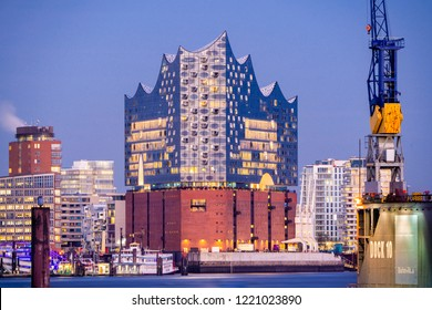 Hamburg, Germany - November 2, 2018: View of the concert hall Elbphilharmonie in Hamburg, Germany, at dusk.