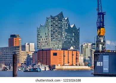 Hamburg, Germany - November 2, 2018: View of the concert hall Elbphilharmonie and the harbor in Hamburg, Germany.