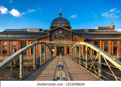 """Hamburg, Germany - November 2, 2018: The venue """"Fischauktionshalle"""" in Hamburg, Germany, is a former fish auction hall in the harbor."""