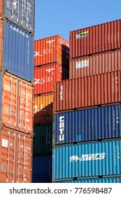 HAMBURG, GERMANY - OCTOBER 1, 2017: Shipping containers stacked at the Port of Hamburg