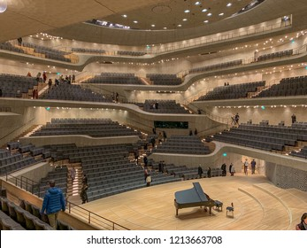 HAMBURG, GERMANY - October 1., 2018: The interior view of big hall of Elbphilharmonie (Elbe Philharmonic Hall) in Hamburg. It is one of the most acoustically advanced concert halls in the world.
