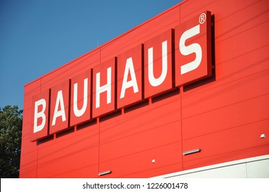 Hamburg / Germany - October 14, 2018: Bauhaus store in Hamburg, Germany - Bauhaus is a retail chain offering products for home improvement, gardening an workshop
