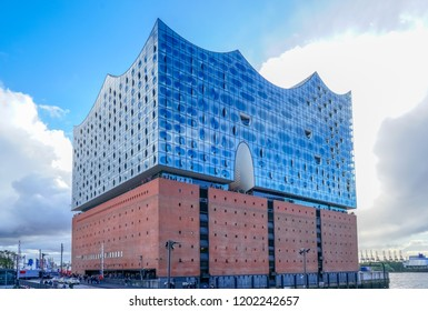 HAMBURG, GERMANY - October 3., 2018: The Elbphilharmonie (Elbe Philharmonic Hall) in the HafenCity of Hamburg. It is one of the largest and most acoustically advanced concert halls in the world.