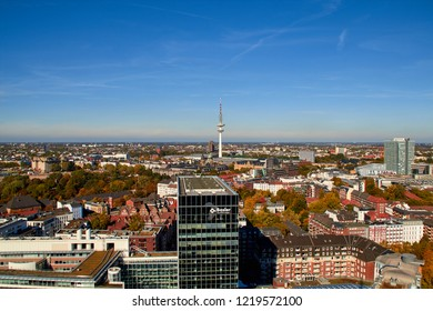 Hamburg, Germany - october 5, 2018: City streets of Germany. Panoramic view of the city of Hamburg from a height. Photo of Hamburg from a height. Cityscape houses and streets.