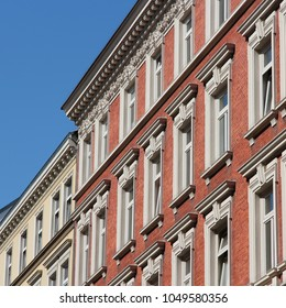 Hamburg, Germany - old townhouse. Apartment buildings in the city.