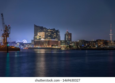 Hamburg, Germany, Panorama of the Harbor at night
