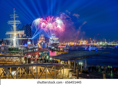 Hamburg Germany - panorama of the harbour with firework