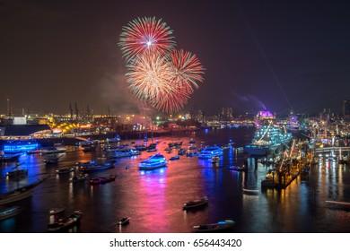 Hamburg Germany Panorama at night - the port with firework