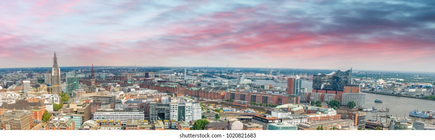 Hamburg, Germany. Panoramic aerial view.