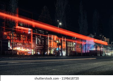 HAMBURG GERMANY Reeperbahn. Streets and buildings at night time exposure Europe party traffic red dancing bar