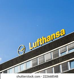 HAMBURG, GERMANY - SEP 18, 2014: the logo of the brand Lufthansa in Hamburg, Germany. Lufthansa has more than Employees  120 tsd employees worldwide.