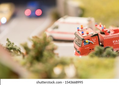 Hamburg, Germany - September 04, 2019: driver of an articulated lorry out of the window