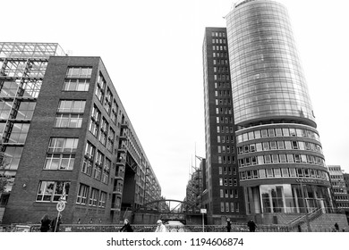 Hamburg, Germany - September 07, 2017: modern buildings Columbus haus on Elbe river canal bank. Architecture structure, design.