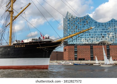 Hamburg, Germany, September 07/2020 - Return of the four-masted barque Peking from New York to its home town Hamburg. Many ships accompanied her on her way to the Harbor museum