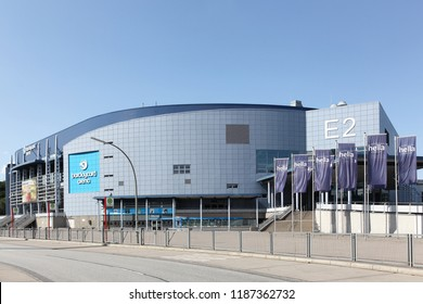 Hamburg, Germany - September 1, 2018: The Barclaycard Arena is a multipurpose arena in Hamburg,  Germany. It opened in 2002 and can hold up to 16,000 people