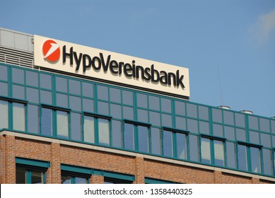 Hamburg / Germany - September 12, 2009: Logo of HypoVereinsbank in Hamburg, Germany - HVB is a subsidiary of UniCredit and the fifth-largest of the German financial institutions