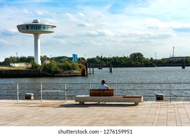 Hamburg, Germany, September, 20, 2018, the famous appartementhaus Lighthouse zero at Übersee Quartier