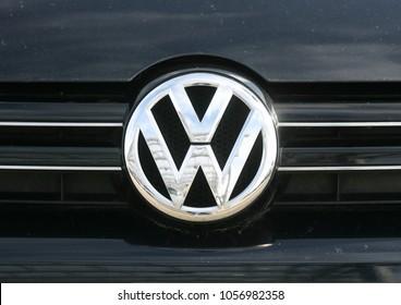 Hamburg, Germany, September 2017, logo of the German automobile manufacturer VOLKSWAGEN