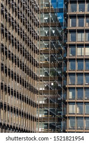 HAMBURG, GERMANY -  SEPTEMBER 22, 2019. Office buildings in the style of architecture of the seventies in the City Nord, an office city planned in the sixties in the north of Hamburg