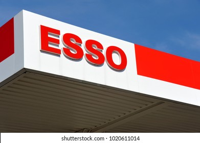 Hamburg / Germany - September 25, 2016: Esso sign in front of a gas station in Hamburg, Germany