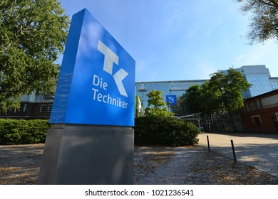 Hamburg / Germany - September 25, 2016: Sign of the health Insurance TK, Die Techniker in front of the Headquarters in Hamburg, Germany