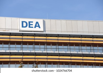 Hamburg / Germany - September 25, 2016: Logo of the German Petroleum Company - DEA, Deutsche Erdoel AG - on the roof of the headquarters in Hamburg, Germany